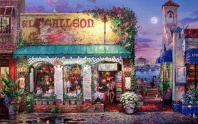 Картинка вода, цветы, скамейка, люди, луна, яхты, вечер, Картина, кафе, ресторан, вывеска, набережная, мостовая, столики, Cao …