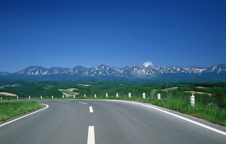 Фото обои горы, холмы, Дорога