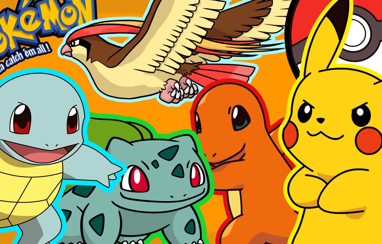 Фото обои пикачу, покемон, pokemon, pikachu, bulbasaur, squirtle, сквиртл, чармандер, charmander, бульбасавр