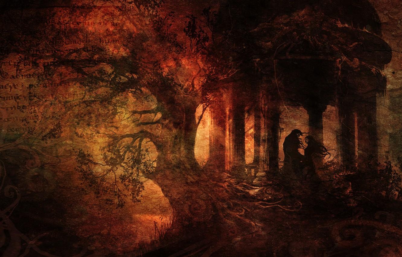 Фото обои лес, письмо, девушка, текст, корни, дерево, встреча, dark, царапины, парень, беседка, 1920x1080, грандж, Анимэ