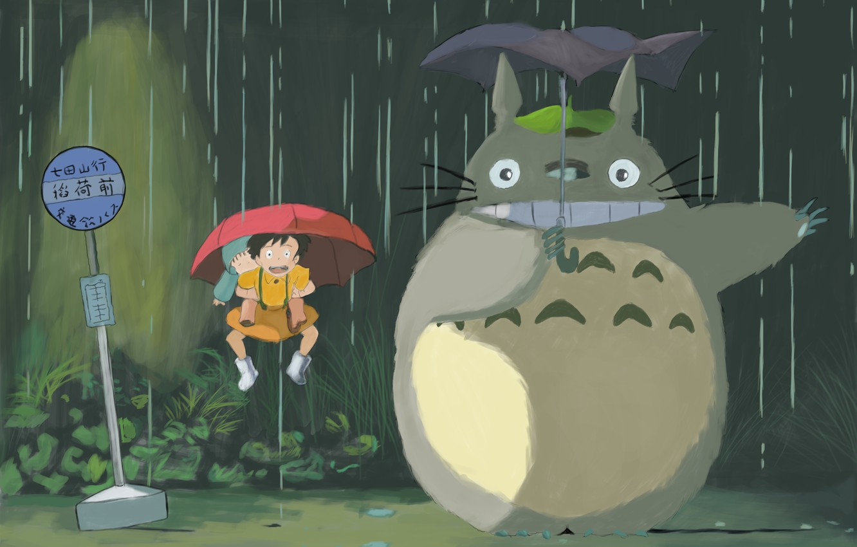 Фото обои дождь, зонт, Тоторо, Хаяо Миядзаки