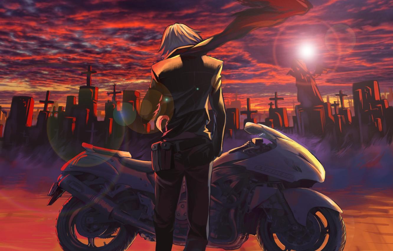 Фото обои небо, солнце, облака, закат, кресты, аниме, шарф, арт, мотоцикл, кладбище, парень, kikira