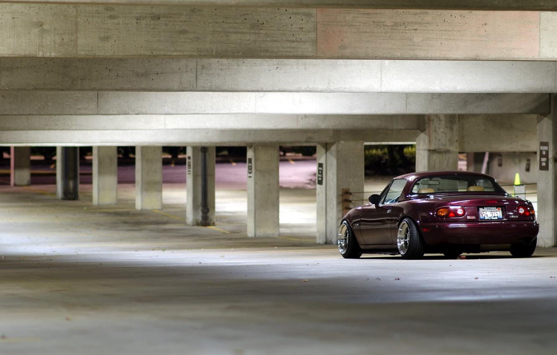 Фото обои машина, фон, гараж, mazda miata
