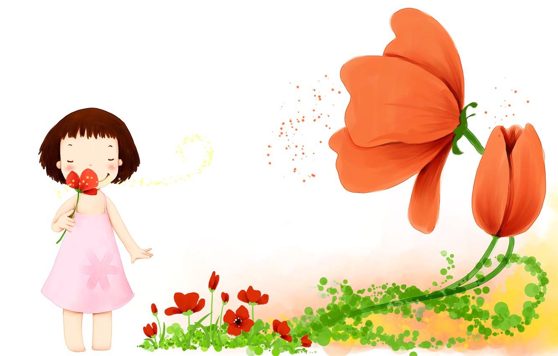 Фото обои цветы, улыбка, лепестки, платье, девочка, детские обои