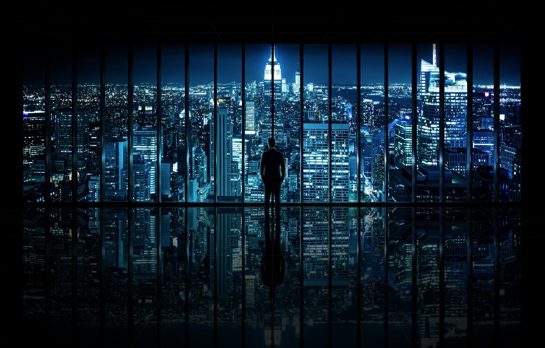 Фото обои ночь, город, вид, окно, мужчина, The Dark Knight, New York City, Window to Gotham City