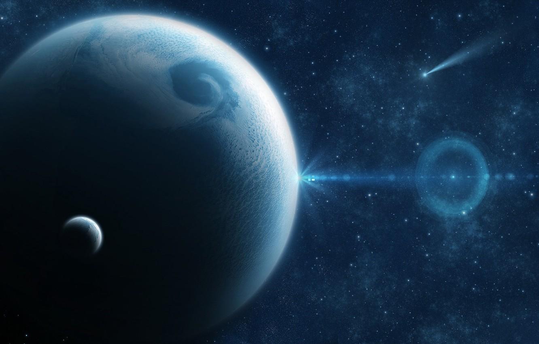 Фото обои dark, light, Star, blue, planet, Sci FI