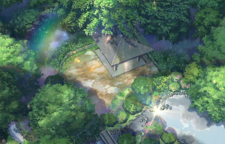 Фото обои крыша, деревья, пруд, парк, камни, дождь, забор, радуга, беседка, Kotonoha no Niwa, Сад изящных слов, …
