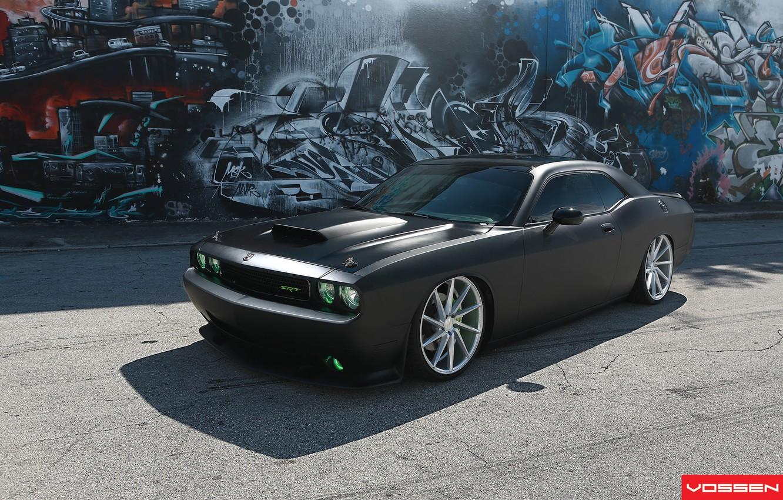 Фото обои граффити, тень, Dodge, SRT8, Challenger, CVT, Vossen, Wheels