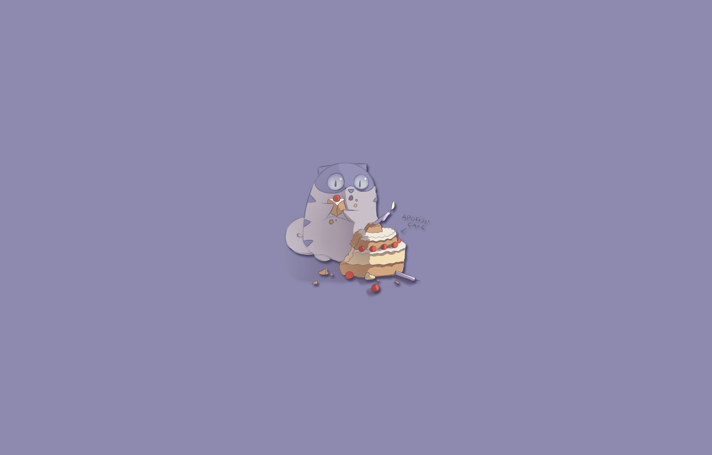 Фото обои кот, минимализм, торт, cake, apofiss, сладкоежка, привидение, Boggart cat