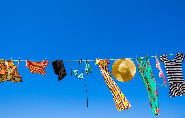 Фото обои sky, clothes, sunny, clothes line
