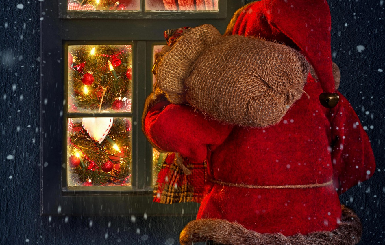 Фото обои зима, снег, lights, огни, дом, праздник, окно, house, Санта Клаус, winter, snow, window, Merry Christmas, …