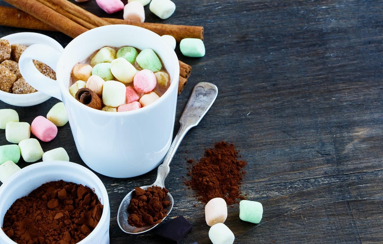 Фото обои hot, cup, chocolate, marshmallow