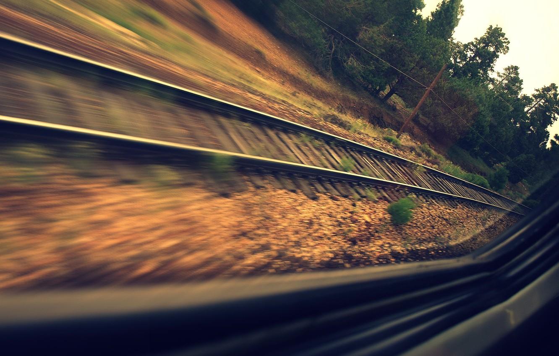 Фото обои дорога, лес, рельсы, поезд, скорость, окно, шпалы