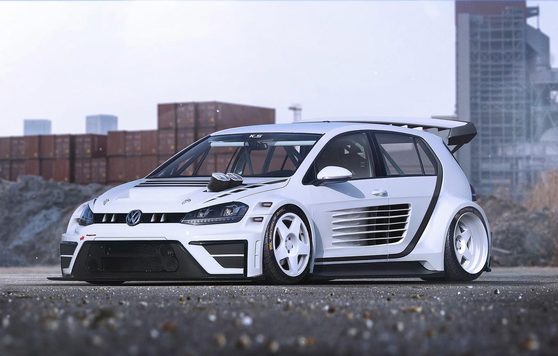 Фото обои Volkswagen, Car, Race, White, Golf, Future, by Khyzyl Saleem, MK7