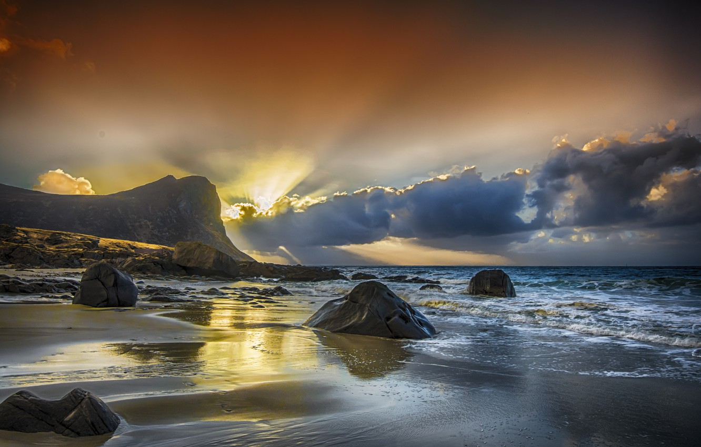 Обои отлив, лучи, тучи, скалы. Природа foto 6