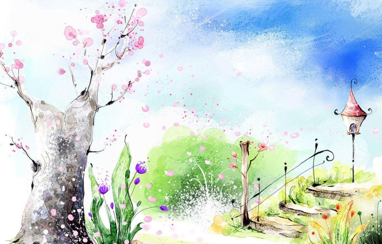 Фото обои цветы, парк, весна, лестница, фонарь