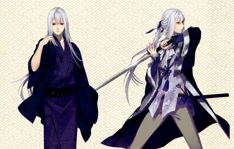 Фото обои узор, катана, кимоно, белые волосы, мечник, visual novel, ken ga kimi, saneaki kuroba