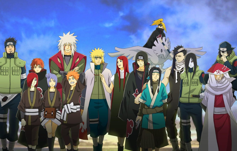 Фото обои аниме, Наруто, Naruto, Uchiha Itachi, Deidara, Sasori, Uzumaki Kushina, Gekkou Hayate, Yahiko, Namikaze Minato, Konan, …