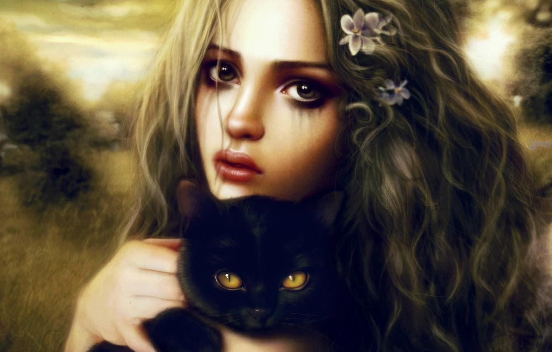 Фото обои взгляд, девушка, котенок, черный, арт, в руках