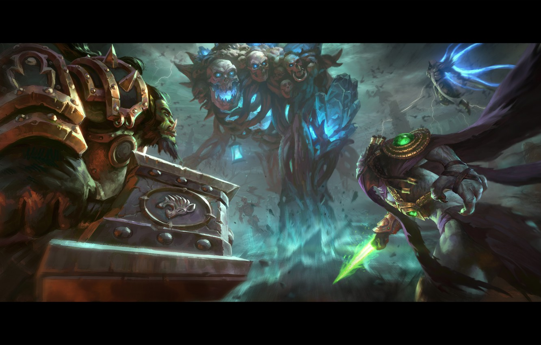 Фото обои starcraft, warcraft, Zeratul, thrall, Tyrael, Heroes of the Storm