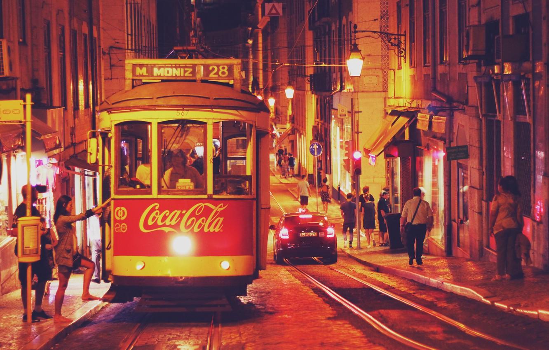 Обои lisbon, трамвай, ночь. Города foto 6