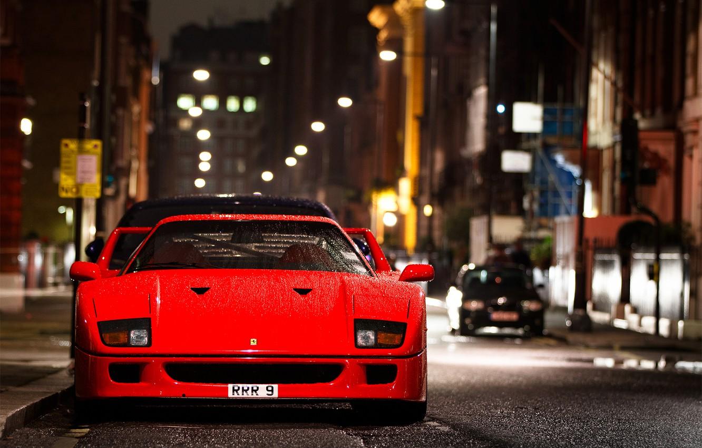 Фото обои капли, ночь, город, улица, мокрая, Ferrari, F 40