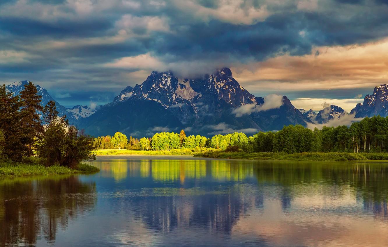 Фото обои лес, лето, вода, облака, свет, отражения, горы, утро, США, национальный парк, Гранд-Титон, штат Вайоминг, Oxbow …