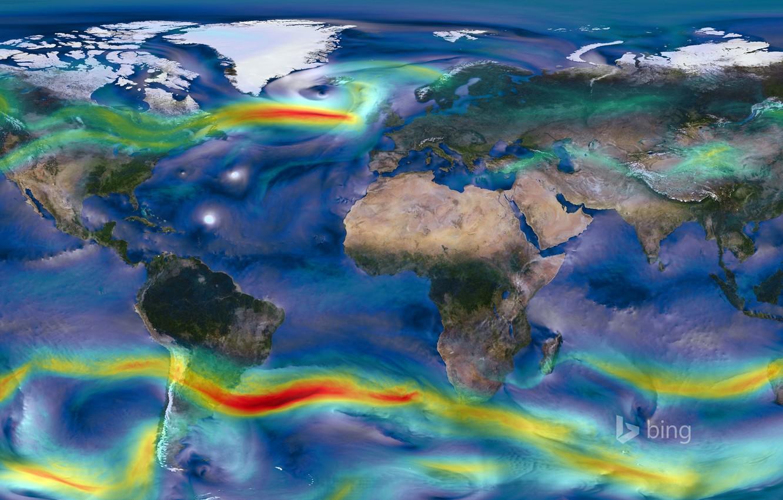 Фото обои природа, земля, NASA, map, карта ветров, winds