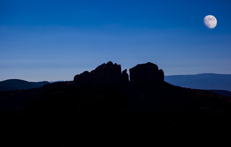 Фото обои горы, ночь, скала, луна, силуэт, каньон, USA, Arizona, Sedona