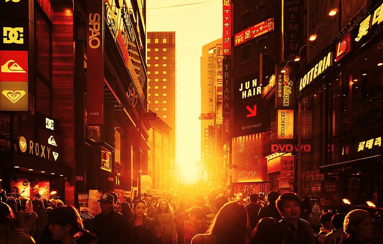 Фото обои город, люди, улица, китай, япония
