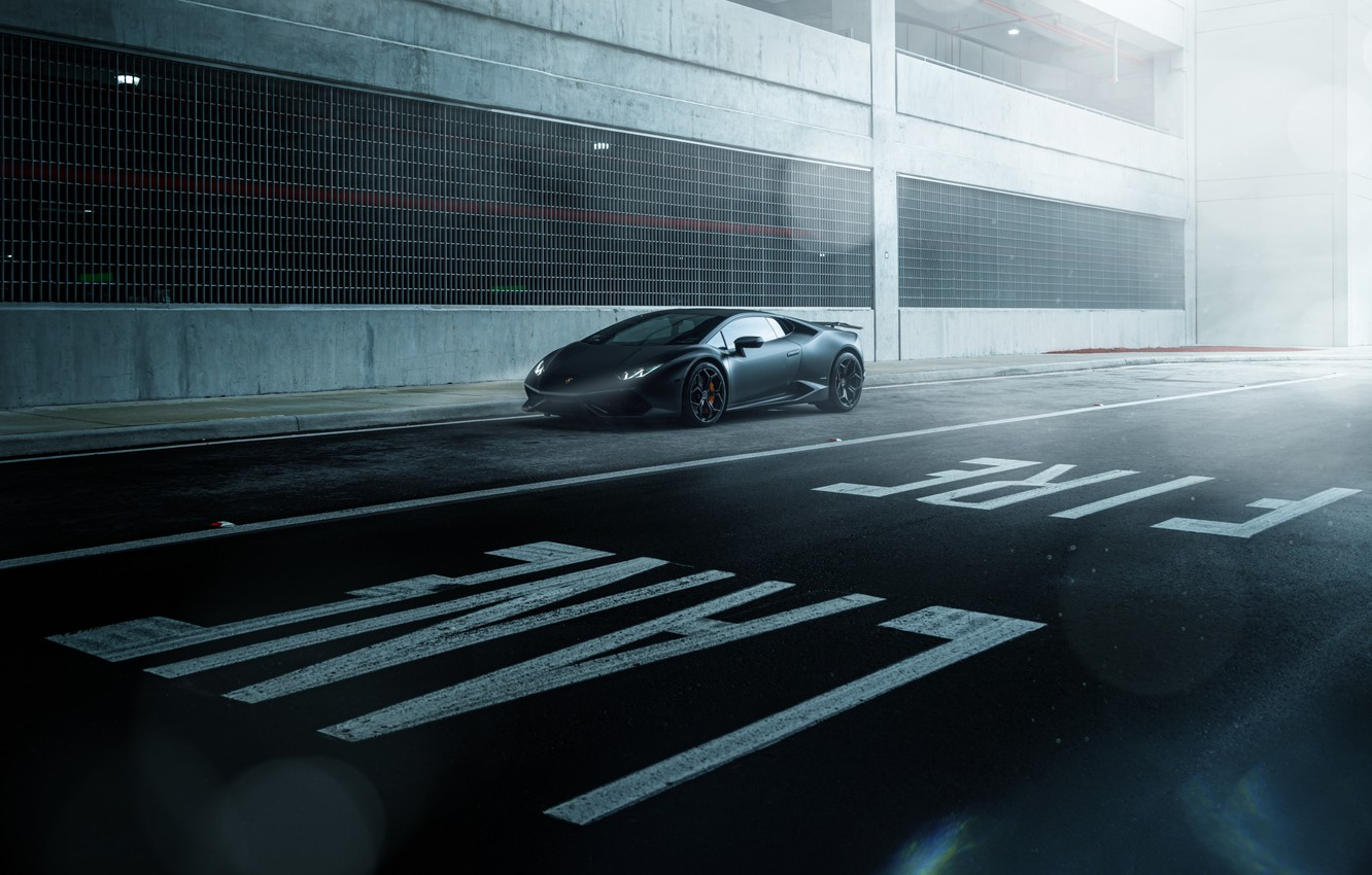 Фото обои Lamborghini, Dark, Front, Black, Color, Road, Supercar, Wheels, Huracan, LP610-4