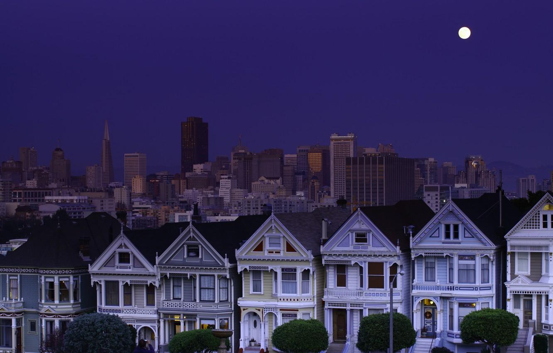 Фото обои небо, ночь, луна, Сан-Франциско, moon, USA, США, синее, sky, night, California, San Francisco