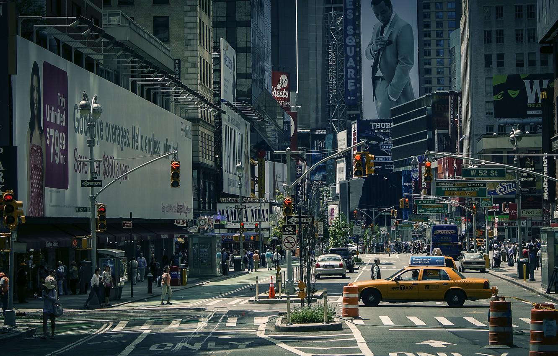 Обои new york city, машины, америка, улица, сша. Города foto 10