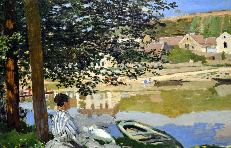 Обои Клод Моне, Два Рыбака, картина, лодка, Пейзаж. Разное foto 10