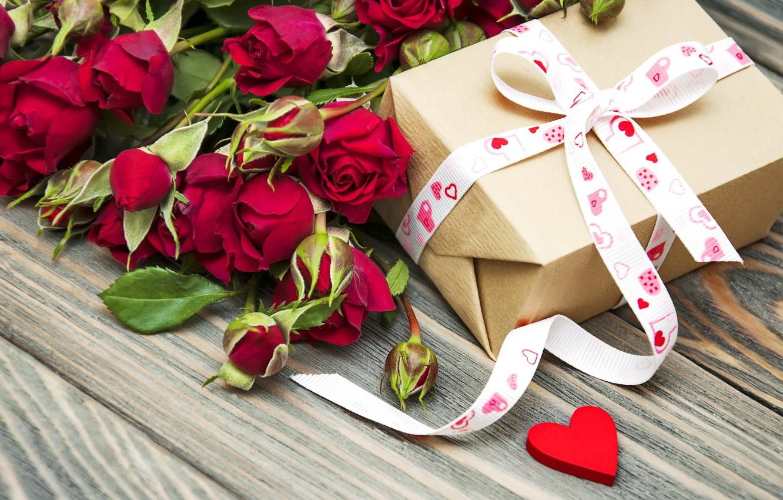Фото обои любовь, подарок, сердце, розы, букет, love, heart, romantic, Valentine's Day, gift, roses