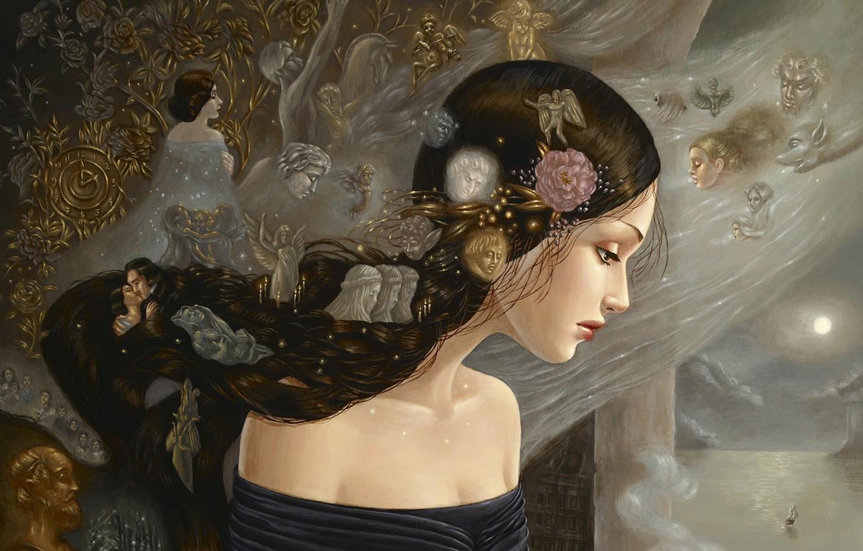 Фото обои девушка, цветы, корабль, свечи, ангелы, окно, лица