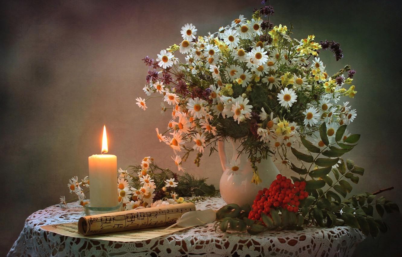 Фото обои ноты, ромашки, свеча, букет, натюрморт, рябина