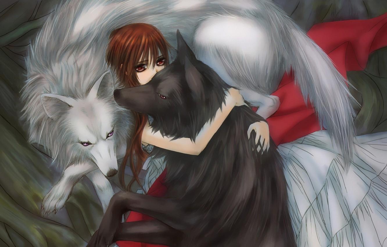 Фото обои девушка, волки, объятья, vampire knight, yuuki cross, рыцарь-вампир