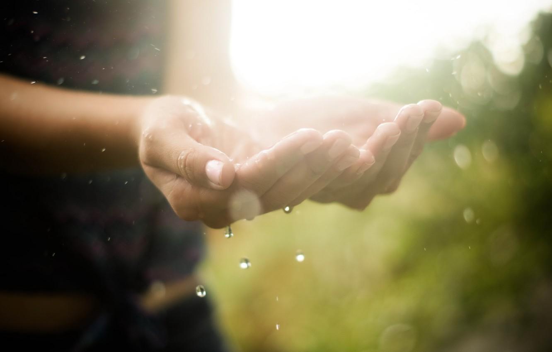 Фото обои вода, капли, макро, свет, руки