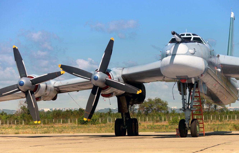 Фото обои Медведь, стоянка, ВВС России, Bear, Ту-95, ОКБ А. Н. Туполева