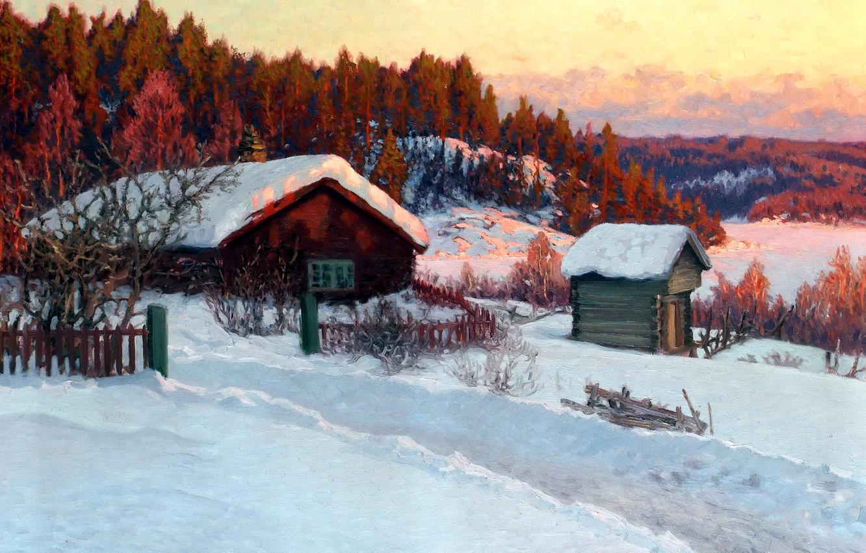 Фото обои зима, лес, снег, деревья, пейзаж, дом, рассвет, холмы, забор, картина, деревня, сугробы, изба, Anshelm Schultzberg