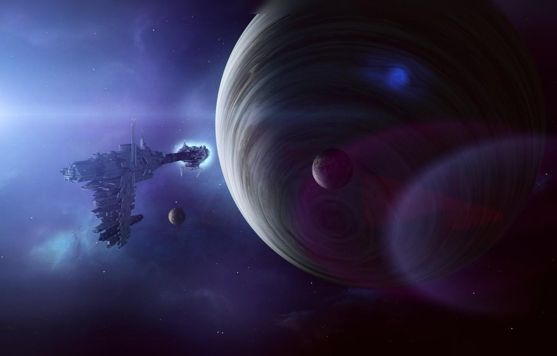 Фото обои космос, корабль, планета, спутники