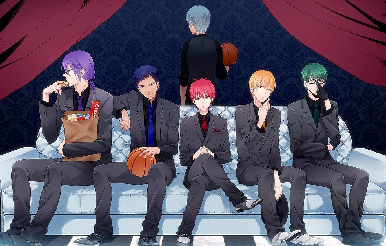 Фото обои диван, мяч, аниме, костюм, галстук, парни, жилетка, Kise Ryouta, Kuroko Tetsuya, баскетбол куроко, Kuroko no …