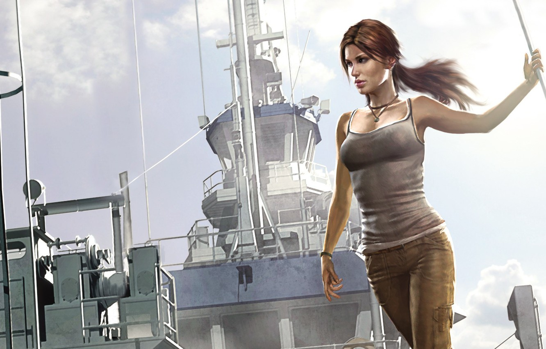Фото обои корабль, Tomb Raider, Лара Крофт, lara croft, art, Расхитительница гробниц