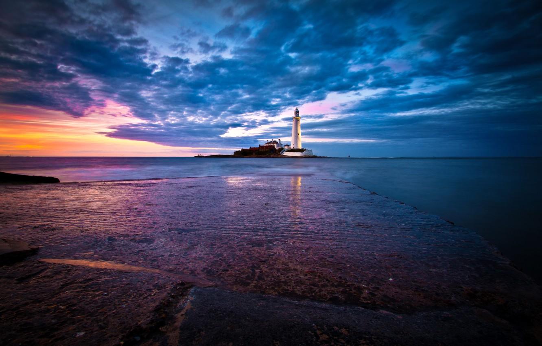 Фото обои море, небо, рассвет, побережье, маяк, Англия, горизонт, St. Marys Lighthouse