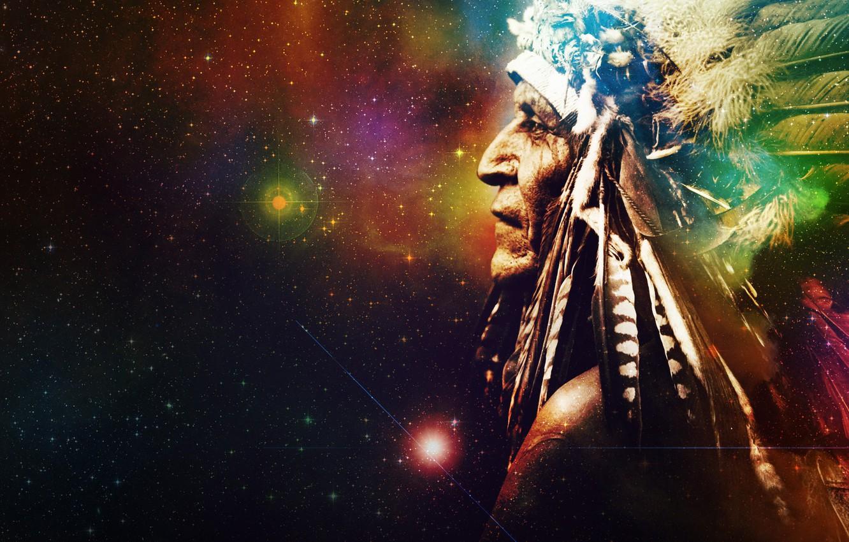 Фото обои космос, звезды, фон, вселенная, перья, мистика, индеец