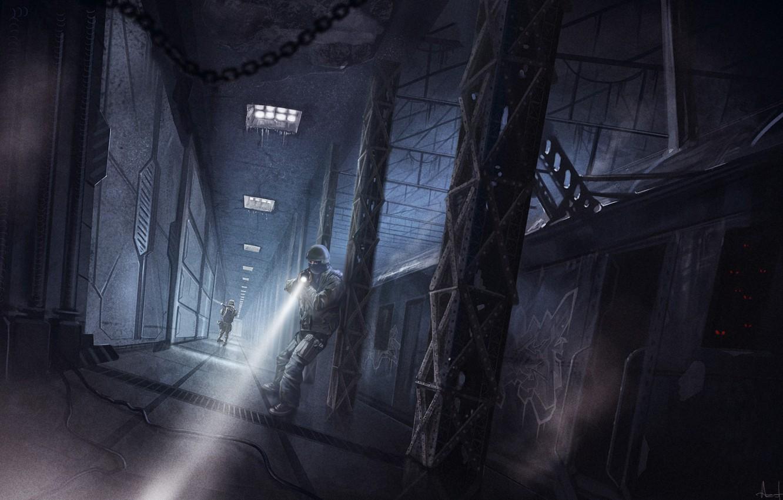 Фото обои оружие, поезд, вагоны, арт, солдаты, фонарь, красные глаза