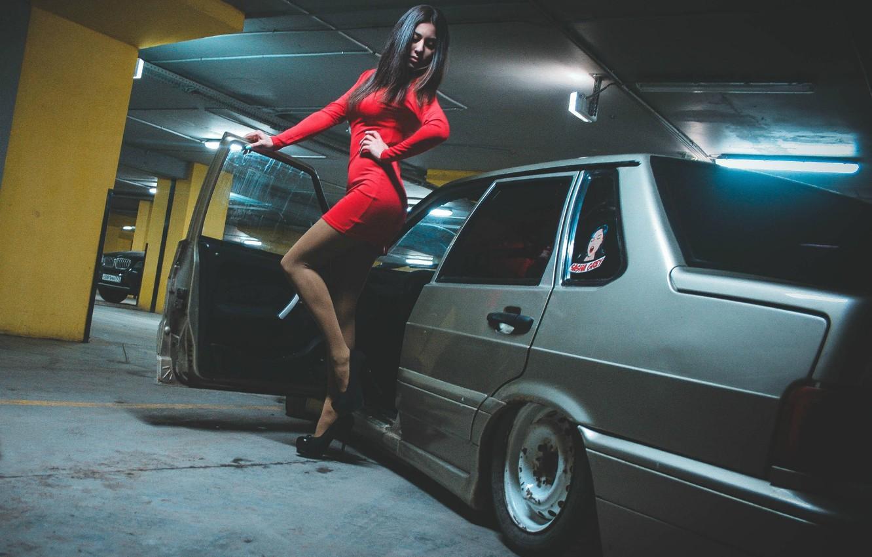 Фото обои машина, девушка, Авто, ножки, Lada, auto, Лада, ВАЗ, БПАН, 2115, Без Посадки Авто Нет