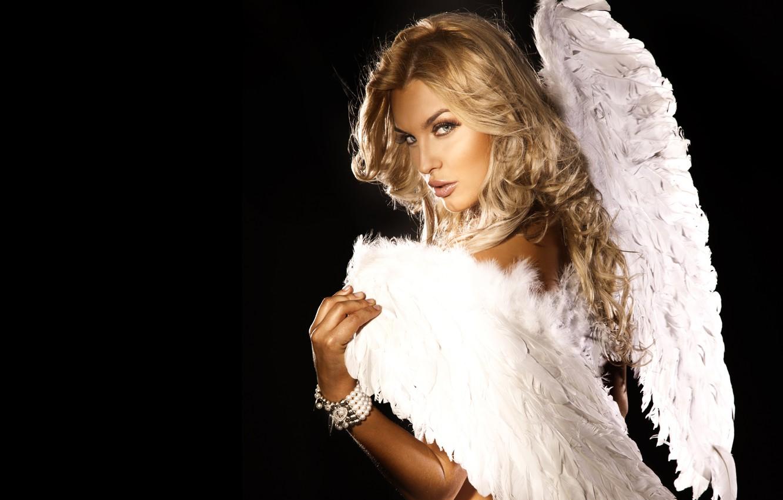 Фото обои взгляд, девушка, поза, ангел, блондинка