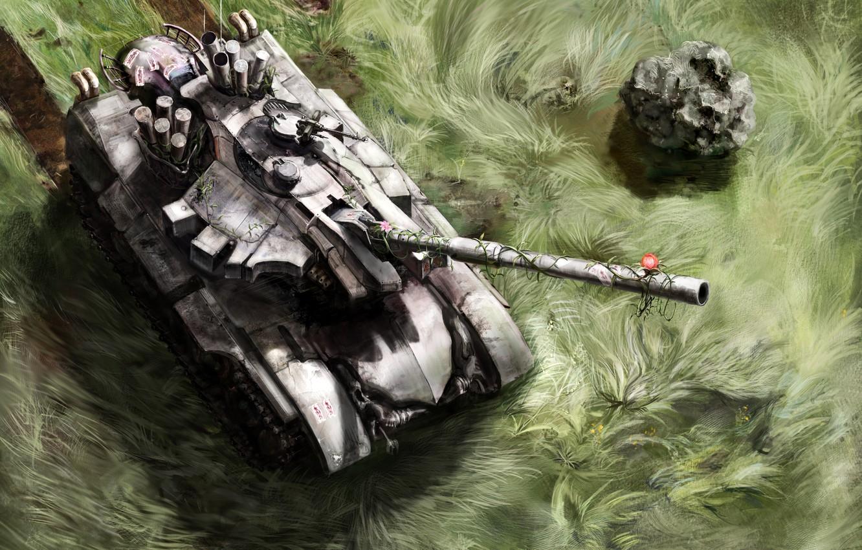 Фото обои трава, цветы, след, арт, танк, Touhou, flower tank